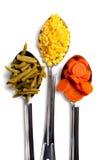 匙子空白三棵的蔬菜 免版税库存照片