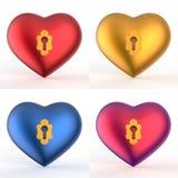 匙孔心脏3D设置了1 免版税库存照片