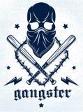 匪徒象征商标或纹身花刺与积极的头骨棒球棒和其他武器和设计元素,传染媒介,犯罪少数民族居住区 向量例证