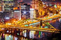 匹兹堡宾夕法尼亚市地平线特写镜头  免版税图库摄影