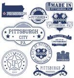 匹兹堡市、PA、普通邮票和标志 免版税库存照片