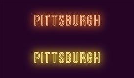 匹兹堡市的霓虹名字在美国 传染媒介文本 向量例证