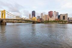 匹兹堡,宾夕法尼亚fron Allegheny地平线着陆acros 免版税图库摄影