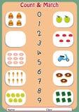 匹配数字对对象,幼儿园的活页练习题 图库摄影