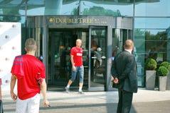 匹配波兰队橄榄球的旅行 库存照片
