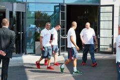 匹配波兰队橄榄球的旅行 库存图片