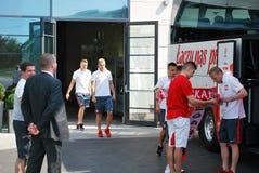 匹配波兰队橄榄球的旅行 图库摄影