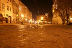 区中央lvov 免版税库存照片