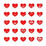 区别emoji在白色backgroun的心脏象的汇集 免版税图库摄影