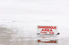 区危险冰变薄 免版税图库摄影