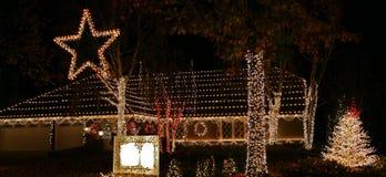 区圣诞灯消息 库存照片