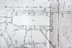 区域的地形学计划,大厦的关于地形的地点和通信 免版税图库摄影