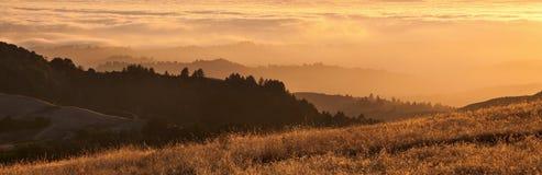 区海湾加利福尼亚雾全景日落 免版税库存图片