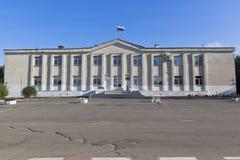 区管理Kirillov,沃洛格达州地区,俄罗斯的大厦 免版税库存图片