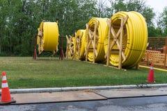 区详细资料气体行业传递途径用管道输送钢黄色 免版税库存图片