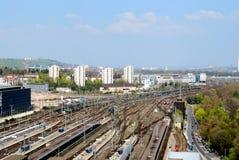 区邮件附近的火车站斯图加特 库存照片