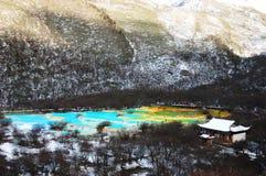 区huanglong风景冬天 免版税库存图片