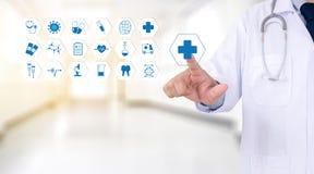 医学医疗保健专业医生手与方式一起使用 免版税图库摄影