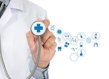 医学医疗保健专业医生手与方式一起使用 免版税库存照片