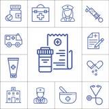 医学,医院项目,线性传染媒介象 免版税库存图片