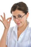 医生典雅的女孩玻璃 图库摄影