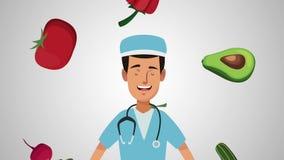 医生和健康食物HD动画 股票视频