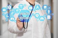 医生和抗生素在医疗networ的抵抗词 免版税库存图片