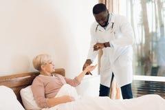 医生在老人院审查一名年长患者 库存照片