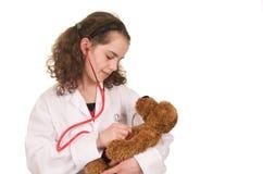 医生女孩使用 图库摄影