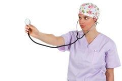 医生女性藏品听诊器 免版税库存照片