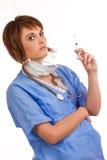 医生女性被装载拿着注射器新 库存图片