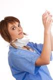 医生女性被装载拿着注射器 库存图片