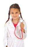 医生将来的女孩听诊器 免版税库存图片