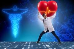 医生心脏科医师支持的心电图心脏线 皇族释放例证