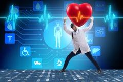 医生心脏科医师支持的心电图心脏线 向量例证