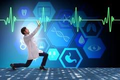 医生心脏科医师支持的心电图心脏线 库存例证