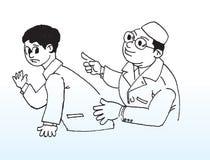 医生患者草图 免版税库存照片