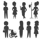 医生护士字符传染媒介剪影医疗妇女职员平的设计医院队人博士学位例证 向量例证