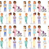 医生护士字符传染媒介医疗妇女职员平的设计医院队人博士学位无缝的样式bakground 库存例证