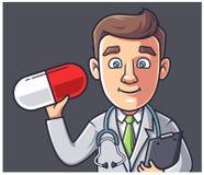 医生拿着一个药片 皇族释放例证