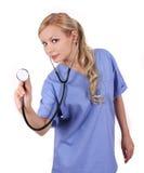 医生查出的听诊器白色 库存图片