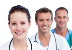 医疗介绍微笑的小组 库存图片