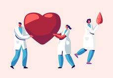 医疗保健、移植、献血男性和女性角色医疗制服的,护士医生,运载巨大的心脏血液 皇族释放例证