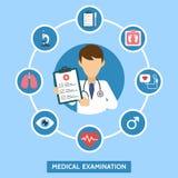 医疗保健与infographics元素的服务概念 身体检查 与医生和医学化验的横幅 网上医生 向量例证