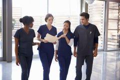 医疗保健同事谈论笔记在医院走廊 免版税库存照片
