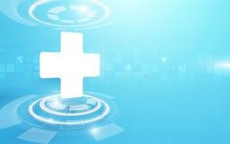 医疗十字架和技术数字式高科技概念背景 皇族释放例证