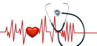 医疗听诊器和红色心脏与心电图 最佳的概念医生执行健康 库存照片