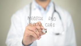 医疗和卫生保健系统,在透明屏幕上的医生文字 免版税库存图片