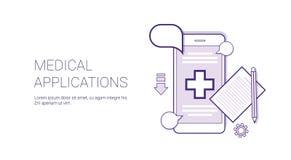 医疗应用流动医生Consultation Technology与拷贝空间的Concept Banner变薄线 免版税图库摄影