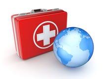 医疗手提箱和地球。 免版税库存图片